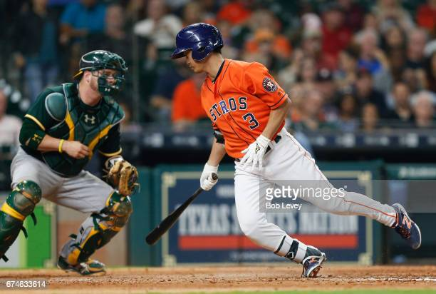 Norichika Aoki of the Houston Astros strikes out swinging in the fifth inning against the Oakland Athletics at Minute Maid Park on April 28 2017 in...