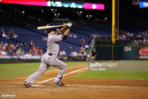 Norichika Aoki of the Houston Astros swings and lines out to center field in the ninth inning during a game against the Philadelphia Phillies at...