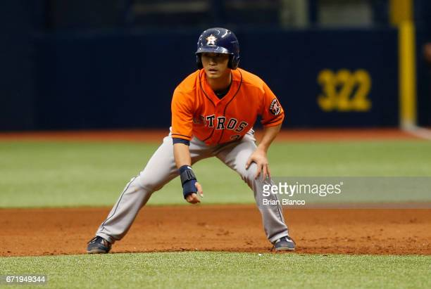 Norichika Aoki of the Houston Astros takes a lead off of first base during the fourth inning of a game against the Tampa Bay Rays on April 23 2017 at...