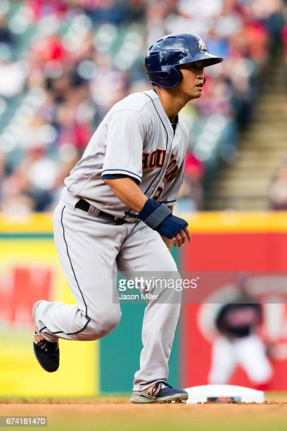 Norichika Aoki of the Houston Astros takes a lead off second base during the first inning against the Cleveland Indians at Progressive Field on April...