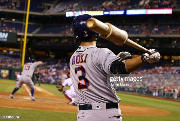 Norichika Aoki of the Houston Astros takes a practice swing in the on deck circle in the sixth inning during a game against the Philadelphia Phillies...