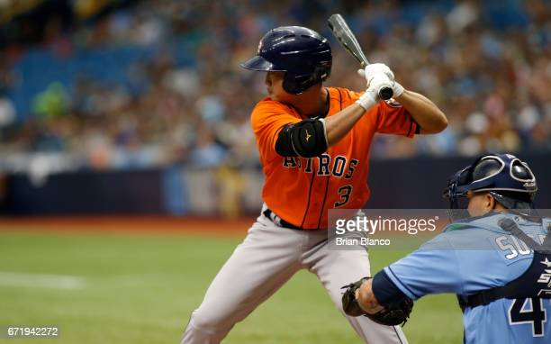 Norichika Aoki of the Houston Astros takes ball four in front of catcher Jesus Sucre of the Tampa Bay Rays for the walk during the second inning of a...