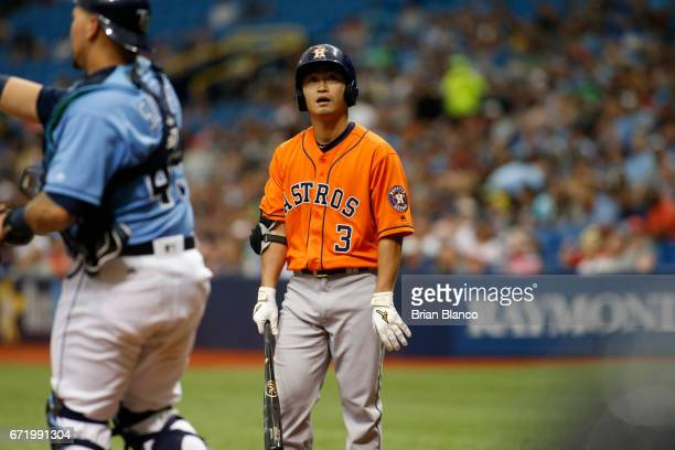 Norichika Aoki of the Houston Astros waits to bat during the second inning of a game against the Tampa Bay Rays on April 23 2017 at Tropicana Field...