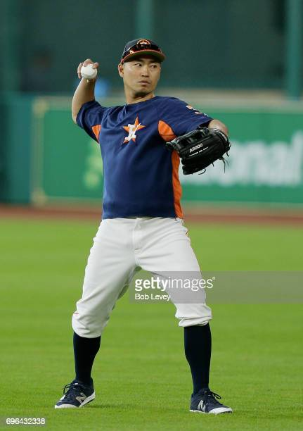 Norichika Aoki of the Houston Astros warms up during batting practice at Minute Maid Park on June 13 2017 in Houston Texas