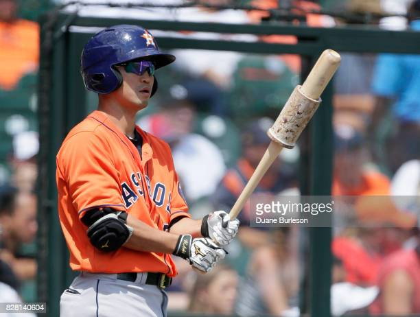 Norichika Aoki of the Houston Astros warms up to bat against the Detroit Tigers at Comerica Park on July 30 2017 in Detroit Michigan