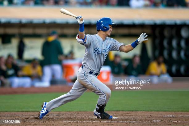 Norichika Aoki of the Kansas City Royals at bat against the Oakland Athletics during the third inning at Oco Coliseum on August 1 2014 in Oakland...