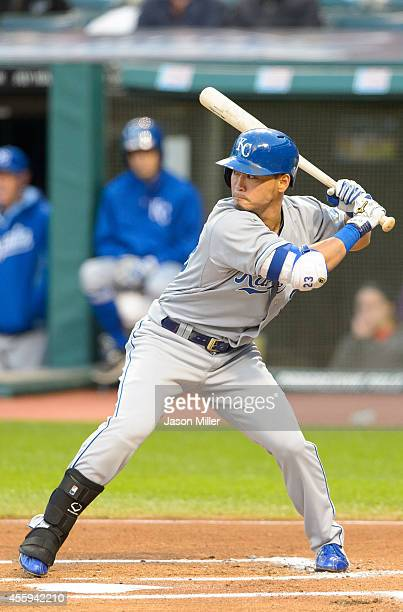 Norichika Aoki of the Kansas City Royals at bat during the first inning against the Cleveland Indians at Progressive Field on September 22 2014 in...