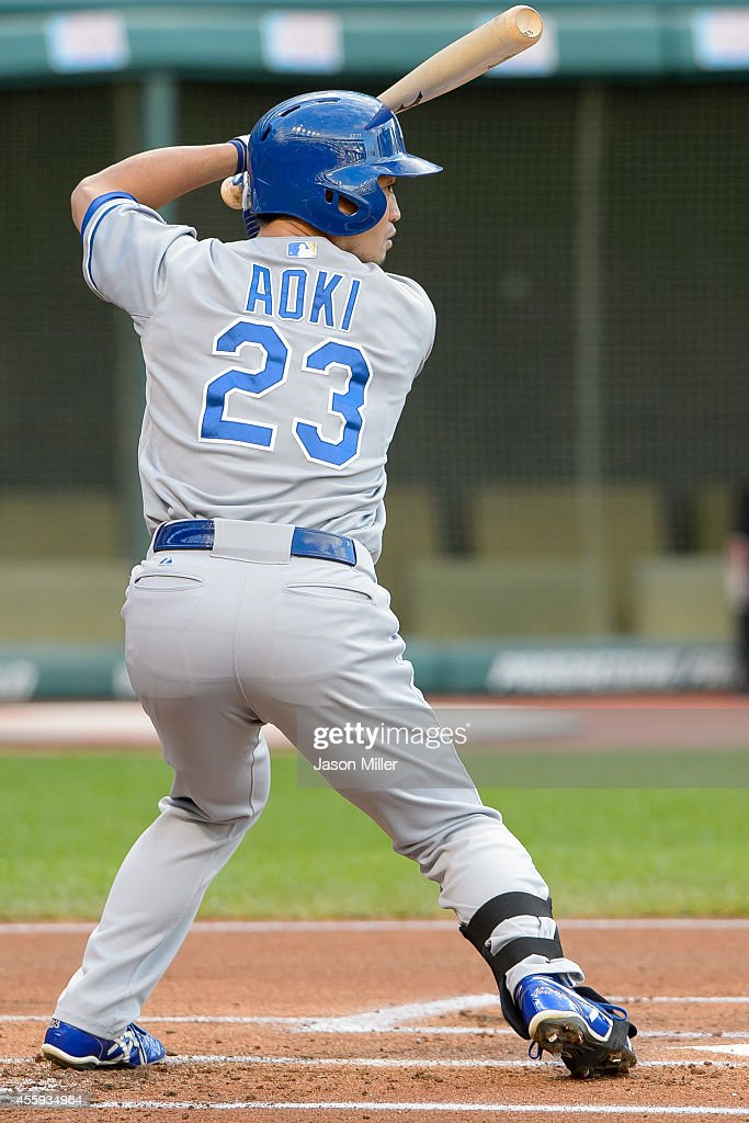 <a gi-track='captionPersonalityLinkClicked' href=/galleries/search?phrase=Norichika+Aoki&family=editorial&specificpeople=850957 ng-click='$event.stopPropagation()'>Norichika Aoki</a> #23 of the Kansas City Royals at bat during the resumed 10th inning of the August 31 suspended game in Kansas City at Progressive Field on September 22, 2014 in Cleveland, Ohio.