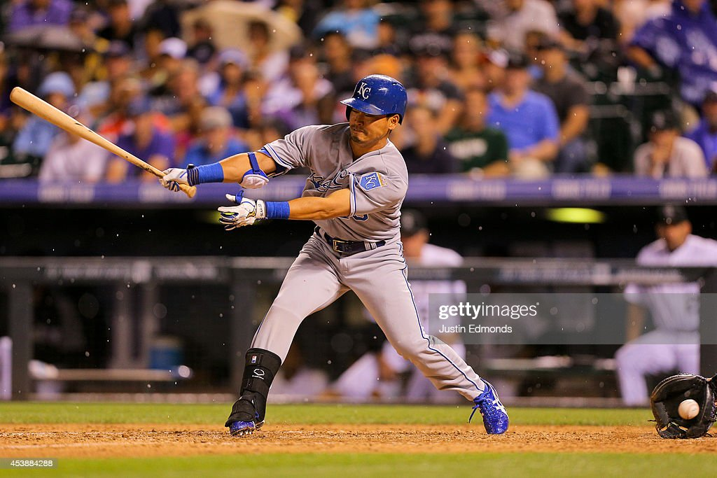 <a gi-track='captionPersonalityLinkClicked' href=/galleries/search?phrase=Norichika+Aoki&family=editorial&specificpeople=850957 ng-click='$event.stopPropagation()'>Norichika Aoki</a> #23 of the Kansas City Royals bats against the Colorado Rockies at Coors Field on August 20, 2014 in Denver, Colorado. The Rockies defeated the Royals 5-2.