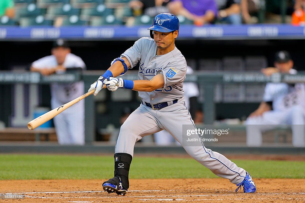 <a gi-track='captionPersonalityLinkClicked' href=/galleries/search?phrase=Norichika+Aoki&family=editorial&specificpeople=850957 ng-click='$event.stopPropagation()'>Norichika Aoki</a> #23 of the Kansas City Royals bats during the second inning against the Colorado Rockies at Coors Field on August 19, 2014 in Denver, Colorado.
