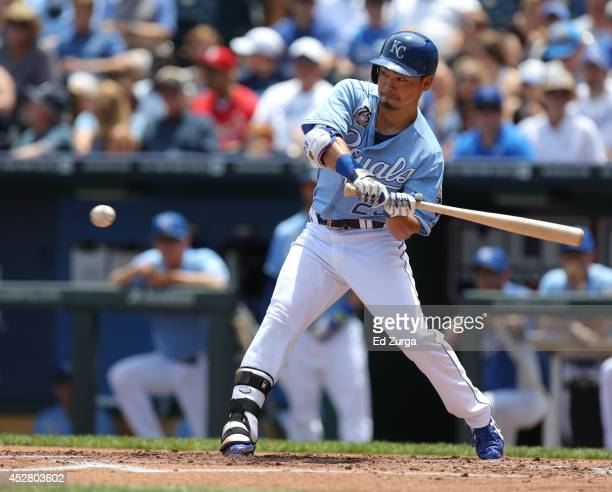 Norichika Aoki of the Kansas City Royals bats in the first inning against the Cleveland Indians at Kauffman Stadium on July 27 2014 in Kansas City...