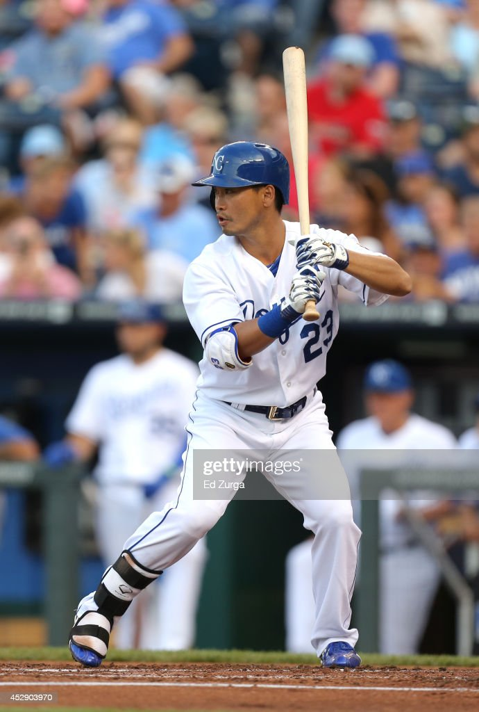 <a gi-track='captionPersonalityLinkClicked' href=/galleries/search?phrase=Norichika+Aoki&family=editorial&specificpeople=850957 ng-click='$event.stopPropagation()'>Norichika Aoki</a> #23 of the Kansas City Royals bats in the first inning against the Minnesota Twins at Kauffman Stadium on July 29, 2014 in Kansas City, Missouri.