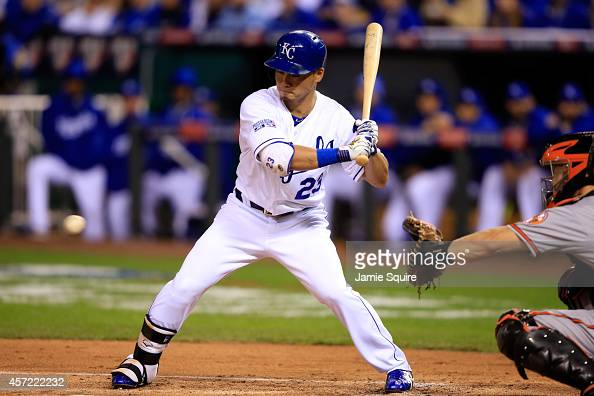 Norichika Aoki of the Kansas City Royals bats in the first inning against WeiYin Chen of the Baltimore Orioles during Game Three of the American...