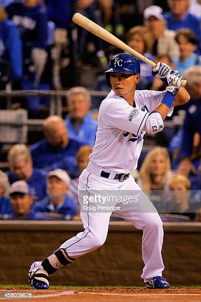 Norichika Aoki of the Kansas City Royals bats in the first inning against the San Francisco Giants during Game Six of the 2014 World Series at...