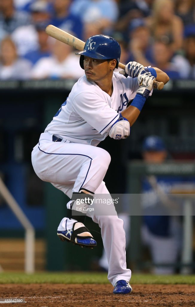 Norichika Aoki #23 of the Kansas City Royals bats in the third inning against the Oakland Athletics at Kauffman Stadium on August 12, 2014 in Kansas City, Missouri.