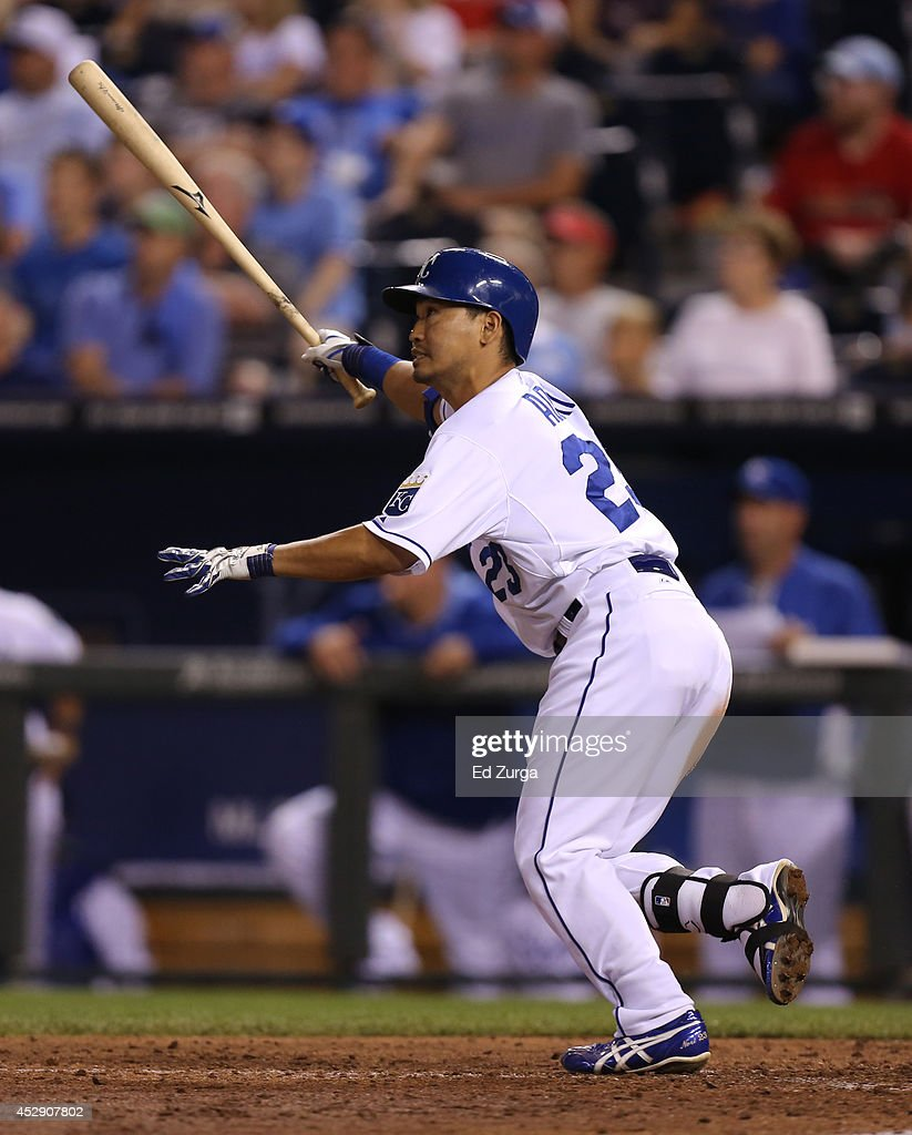 <a gi-track='captionPersonalityLinkClicked' href=/galleries/search?phrase=Norichika+Aoki&family=editorial&specificpeople=850957 ng-click='$event.stopPropagation()'>Norichika Aoki</a> #23 of the Kansas City Royals flies out in the eighth inning against the Minnesota Twins at Kauffman Stadium on July 29, 2014 in Kansas City, Missouri.