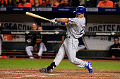 Norichika Aoki of the Kansas City Royals flies out to right field in the fourth inning against Chris Tillman of the Baltimore Orioles during Game One...