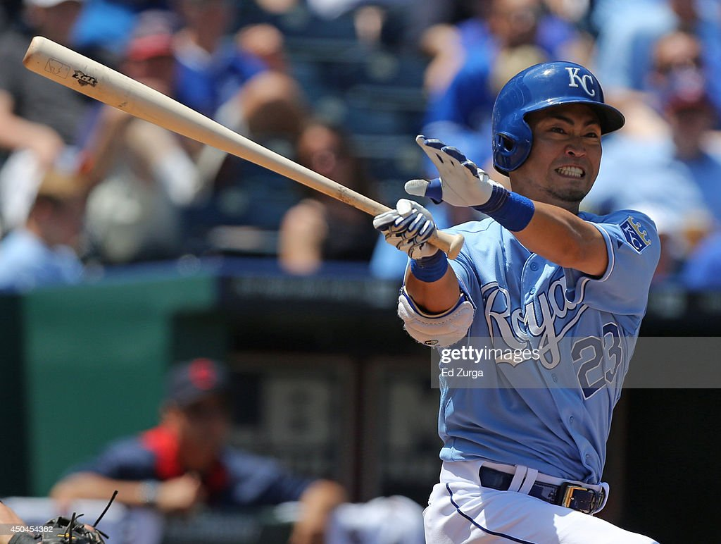 Norichika Aoki #23 of the Kansas City Royals fouls the ball off in the fourth inning against the Cleveland Indians at Kauffman Stadium on June 11, 2014 in Kansas City, Missouri.