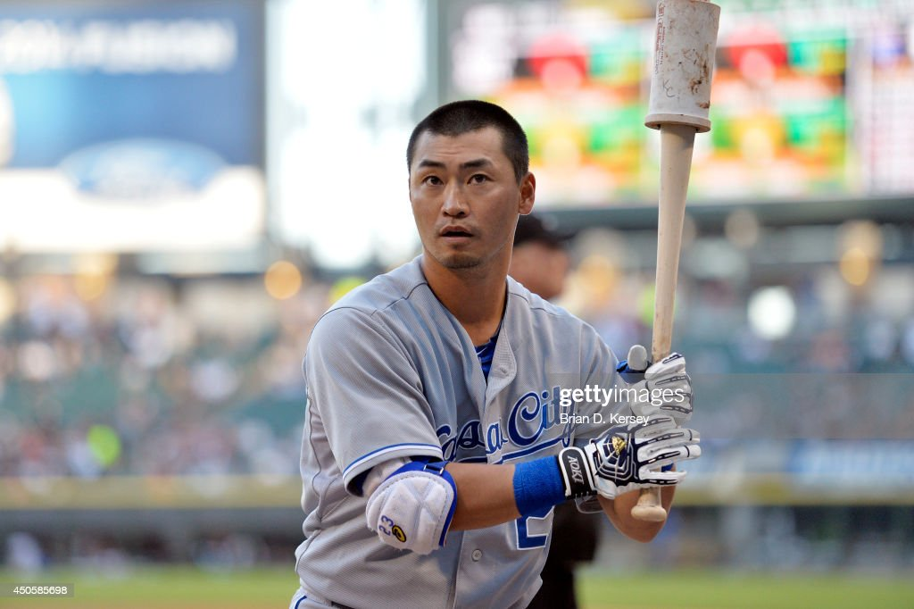 Norichika Aoki #23 of the Kansas City Royals gets ready to bat before the first inning against the Chicago White Sox at U.S. Cellular Field on June 13, 2014 in Chicago, Illinois. The Royals defeated the White Sox 7-2.