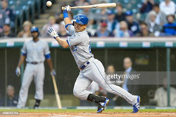 Norichika Aoki of the Kansas City Royals grounds out during the first inning Cleveland Indians at Progressive Field on September 24 2014 in Cleveland...