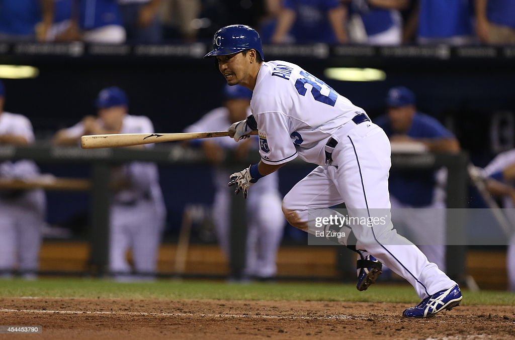 <a gi-track='captionPersonalityLinkClicked' href=/galleries/search?phrase=Norichika+Aoki&family=editorial&specificpeople=850957 ng-click='$event.stopPropagation()'>Norichika Aoki</a> #23 of the Kansas City Royals grounds out in the eighth inning against the Cleveland Indians at Kauffman Stadium on August 31, 2014 in Kansas City, Missouri.