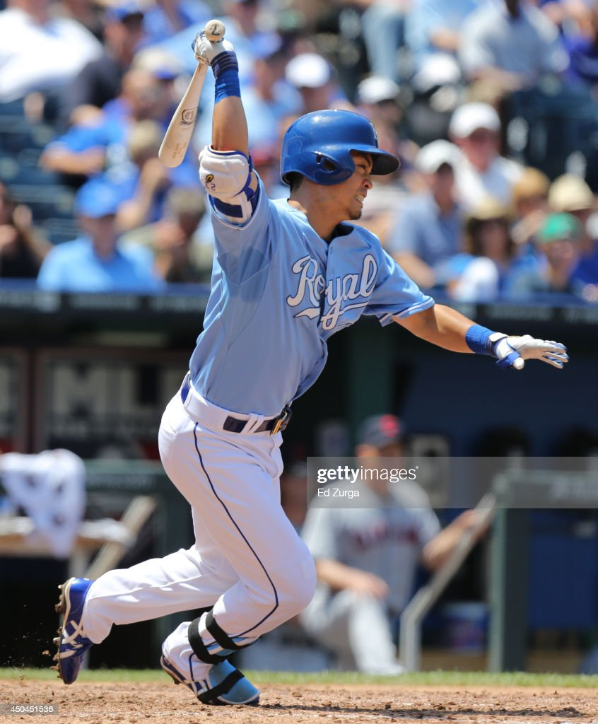 <a gi-track='captionPersonalityLinkClicked' href=/galleries/search?phrase=Norichika+Aoki&family=editorial&specificpeople=850957 ng-click='$event.stopPropagation()'>Norichika Aoki</a> #23 of the Kansas City Royals grounds out in the fourth inning against the Cleveland Indians at Kauffman Stadium on June 11, 2014 in Kansas City, Missouri.