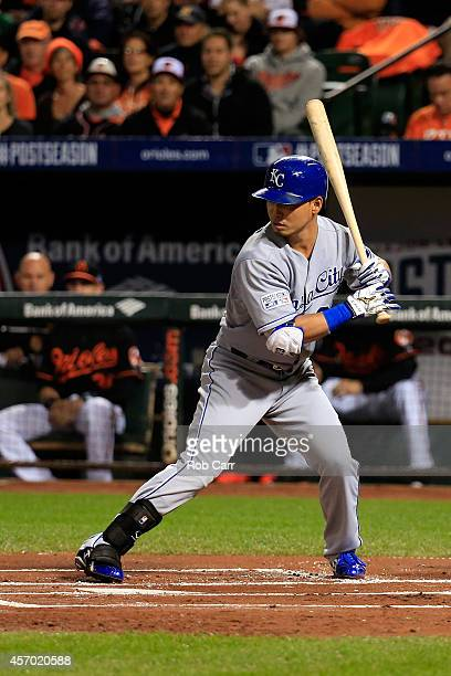 Norichika Aoki of the Kansas City Royals grounds out to first base in the first inning against Chris Tillman of the Baltimore Orioles during Game One...