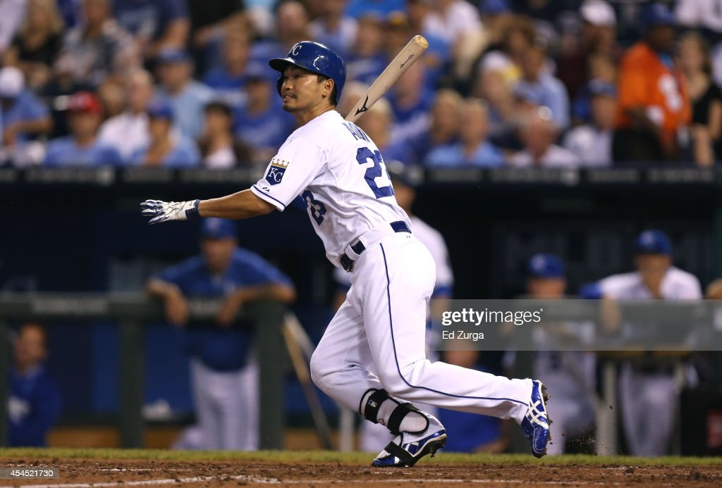 <a gi-track='captionPersonalityLinkClicked' href=/galleries/search?phrase=Norichika+Aoki&family=editorial&specificpeople=850957 ng-click='$event.stopPropagation()'>Norichika Aoki</a> #23 of the Kansas City Royals hits a RBI double in the third inning against the Texas Rangers at Kauffman Stadium on September 2, 2014 in Kansas City, Missouri.