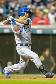 Norichika Aoki of the Kansas City Royals hits a single during the fifth inning against the Cleveland Indians at Progressive Field on September 24...