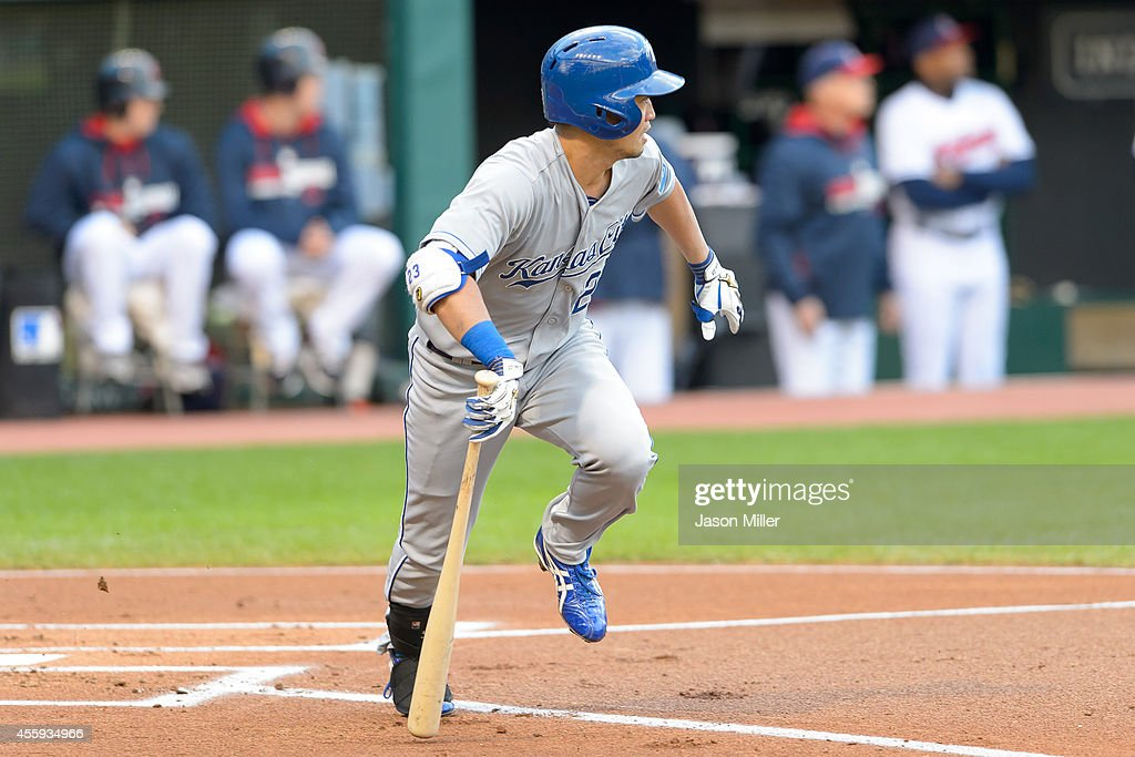 Norichika Aoki #23 of the Kansas City Royals hits an RBI single during the resumed 10th inning of the August 31 suspended game in Kansas City at Progressive Field on September 22, 2014 in Cleveland, Ohio.