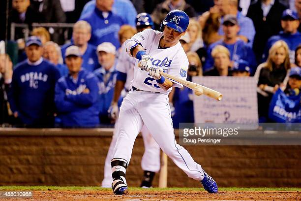Norichika Aoki of the Kansas City Royals hits an RBI single in the second inning against the San Francisco Giants during Game Six of the 2014 World...