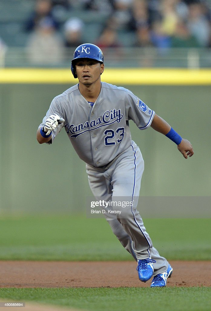 Norichika Aoki #23 of the Kansas City Royals leads off second base during the first inning against the Chicago White Sox at U.S. Cellular Field on June 13, 2014 in Chicago, Illinois. The Royals defeated the White Sox 7-2.