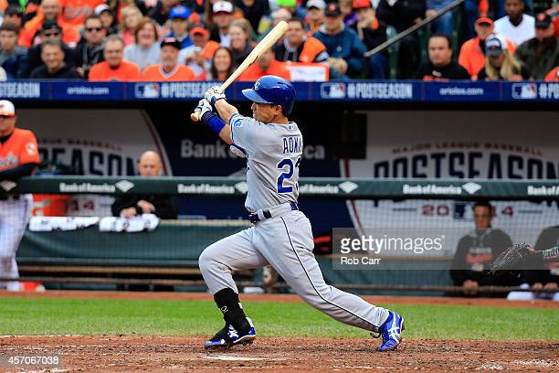 Norichika Aoki of the Kansas City Royals lines out to center field in the third inning against Bud Norris of the Baltimore Orioles during Game Two of...