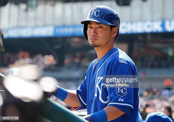 Norichika Aoki of the Kansas City Royals looks on from the dugout during the fifth inning while playing the Detroit Tigers at Comerica Park on April...