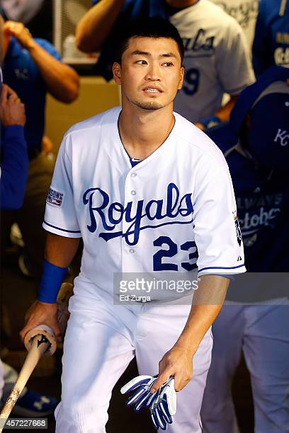 Norichika Aoki of the Kansas City Royals looks on from the dugout prior to Game Three of the American League Championship Series against the...