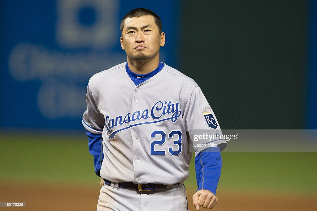 Norichika Aoki #23 of the Kansas City Royals reacts after he was forced out at second on a ground ball by Omar Infante #14 of the Kansas City Royals to end the eighth inning at Progressive Field on April 22, 2014 in Cleveland, Ohio.