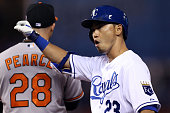Norichika Aoki of the Kansas City Royals reacts after hitting a single in the sixth inning against WeiYin Chen of the Baltimore Orioles during Game...