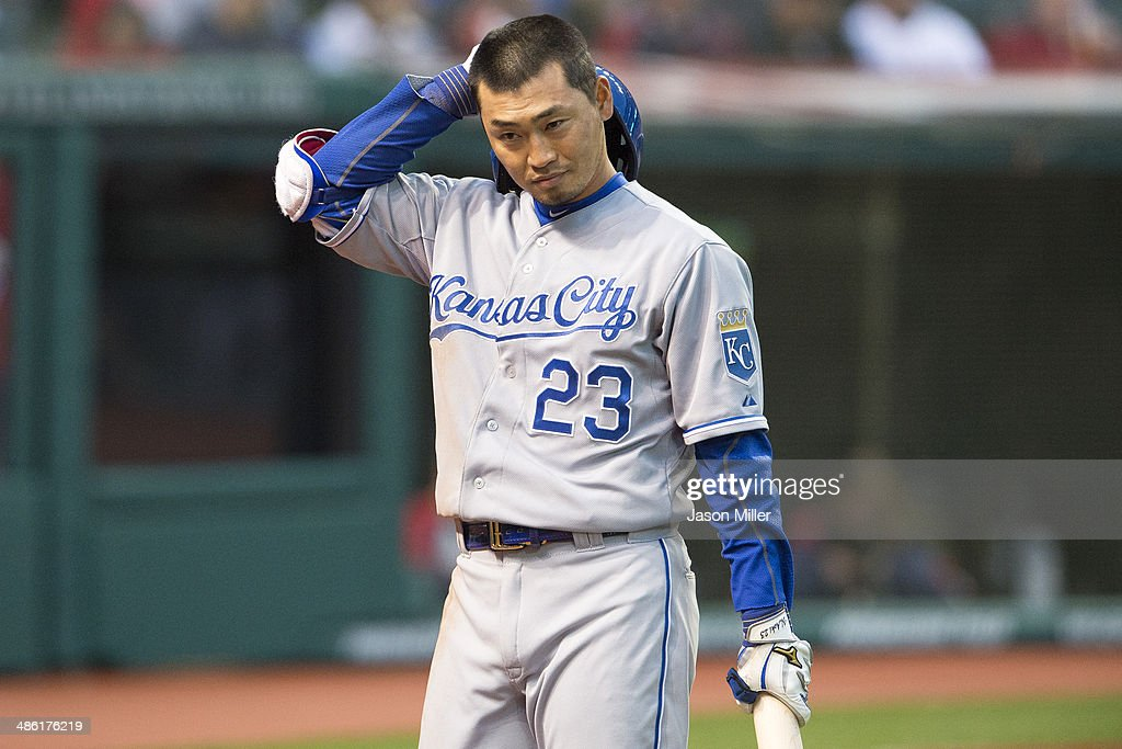 Norichika Aoki #23 of the Kansas City Royals reacts after striking out during the third inning against the Cleveland Indians at Progressive Field on April 22, 2014 in Cleveland, Ohio.