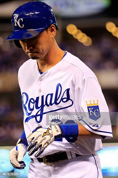 Norichika Aoki of the Kansas City Royals reatcs after grounding out in the sixth inning against the San Francisco Giants during Game One of the 2014...