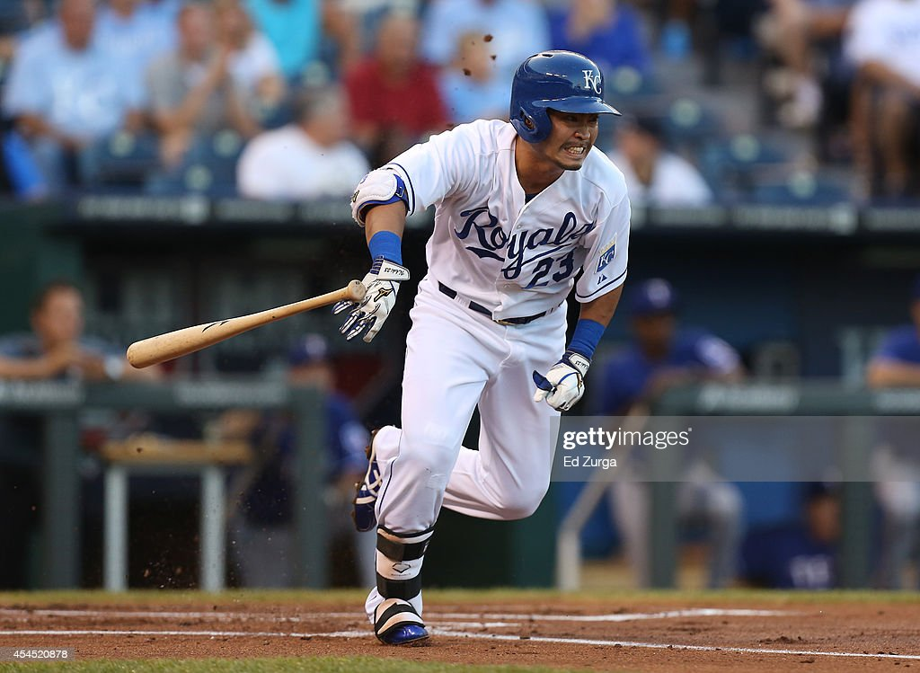 <a gi-track='captionPersonalityLinkClicked' href=/galleries/search?phrase=Norichika+Aoki&family=editorial&specificpeople=850957 ng-click='$event.stopPropagation()'>Norichika Aoki</a> #23 of the Kansas City Royals runs to first as he grounds out in the first inning against the Texas Rangers at Kauffman Stadium on September 2, 2014 in Kansas City, Missouri.