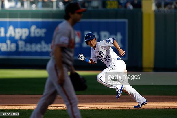 Norichika Aoki of the Kansas City Royals runs to second base on wild pitch by Miguel Gonzalez of the Baltimore Orioles in the fifth inning during...