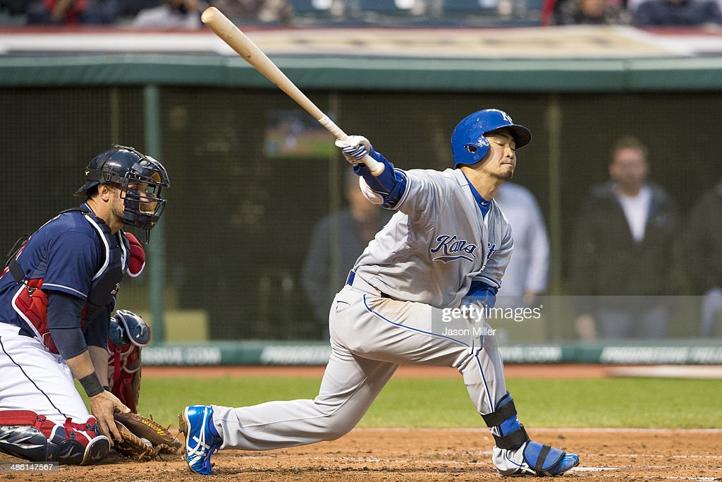 <a gi-track='captionPersonalityLinkClicked' href=/galleries/search?phrase=Norichika+Aoki&family=editorial&specificpeople=850957 ng-click='$event.stopPropagation()'>Norichika Aoki</a> #23 of the Kansas City Royals swings for a strike during the third inning against the Cleveland Indians at Progressive Field on April 22, 2014 in Cleveland, Ohio.