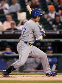 Norichika Aoki of the Kansas City Royals turns to avoid an inside pitch but is called out on strikes during the first inning of a game against the...