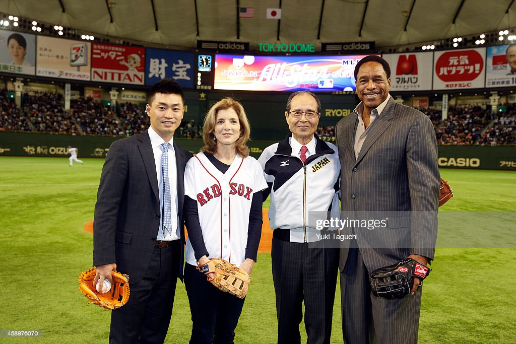 Mlb all stars and the samurai japan at the tokyo dome during the japan