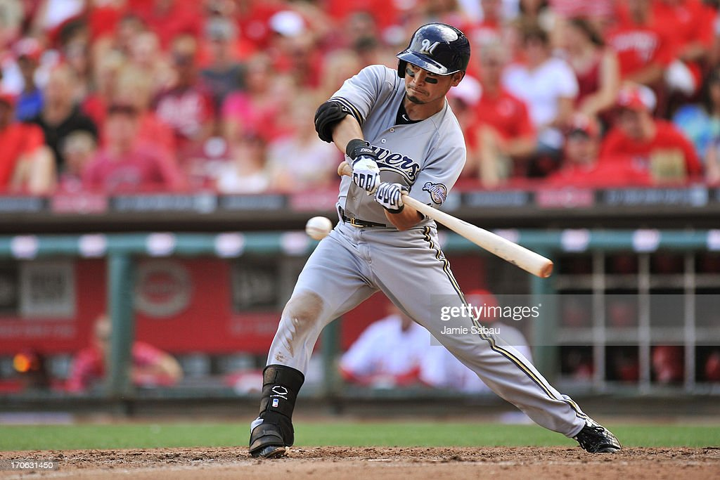 <a gi-track='captionPersonalityLinkClicked' href=/galleries/search?phrase=Norichika+Aoki&family=editorial&specificpeople=850957 ng-click='$event.stopPropagation()'>Norichika Aoki</a> #7 of the Milwaukee Brewers bats in the seventh inning against the Cincinnati Reds at Great American Ball Park on June 15, 2013 in Cincinnati, Ohio. Milwaukee blanked Cincinnati 6-0.