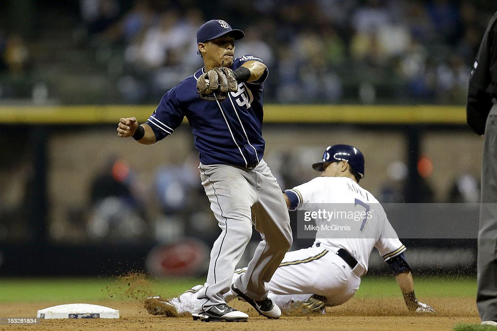 <a gi-track='captionPersonalityLinkClicked' href=/galleries/search?phrase=Norichika+Aoki&family=editorial&specificpeople=850957 ng-click='$event.stopPropagation()'>Norichika Aoki</a> #7 of the Milwaukee Brewers beats the throw to <a gi-track='captionPersonalityLinkClicked' href=/galleries/search?phrase=Everth+Cabrera&family=editorial&specificpeople=5743470 ng-click='$event.stopPropagation()'>Everth Cabrera</a> #2 of the San Diego Padres while stealing second base in the bottom of the 3rd inning at Miller Park on October 2, 2012 in Milwaukee, Wisconsin.