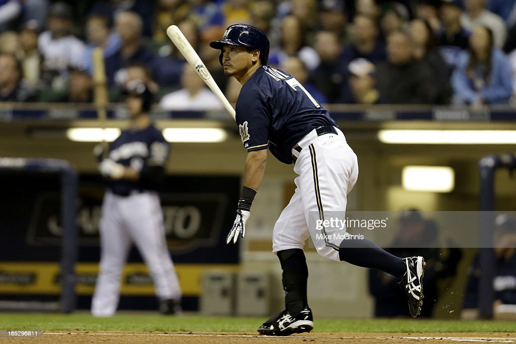 <a gi-track='captionPersonalityLinkClicked' href=/galleries/search?phrase=Norichika+Aoki&family=editorial&specificpeople=850957 ng-click='$event.stopPropagation()'>Norichika Aoki</a> #7 of the Milwaukee Brewers flies out to left field in the bottom of the first inning against the Colorado Rockies at Miller Park on April 2, 2013 in Milwaukee, Wisconsin.