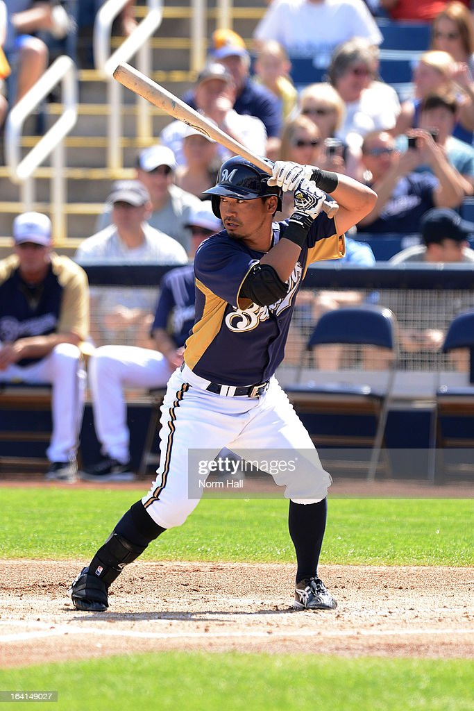 Norichika Aoki #7 of the Milwaukee Brewers gets ready in the batters box against the Los Angeles Angels at Maryvale Baseball Park on March 19, 2013 in Maryvale, Arizona.
