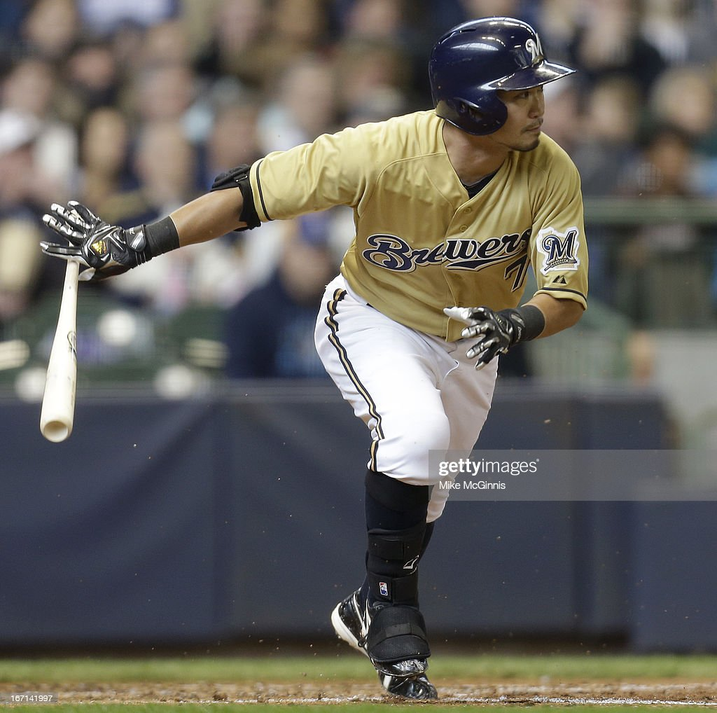 <a gi-track='captionPersonalityLinkClicked' href=/galleries/search?phrase=Norichika+Aoki&family=editorial&specificpeople=850957 ng-click='$event.stopPropagation()'>Norichika Aoki</a> #7 of the Milwaukee Brewers grounds out in the bottom of the third inning against the Chicago Cubs at Miller Park on April 21, 2013 in Milwaukee, Wisconsin.
