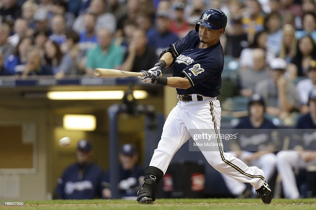<a gi-track='captionPersonalityLinkClicked' href=/galleries/search?phrase=Norichika+Aoki&family=editorial&specificpeople=850957 ng-click='$event.stopPropagation()'>Norichika Aoki</a> #7 of the Milwaukee Brewers grounds out in the bottom of the first inning against the Texas Rangers at Miller Park on May 08, 2013 in Milwaukee, Wisconsin.